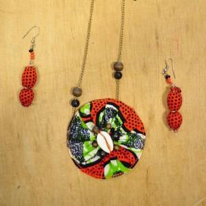 Collier & boucles d'oreilles en tissu, coquillage et perles