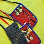 Pochettes en jeans et tissu africain
