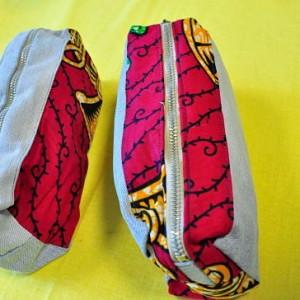 Trousses en jeans et tissu africain